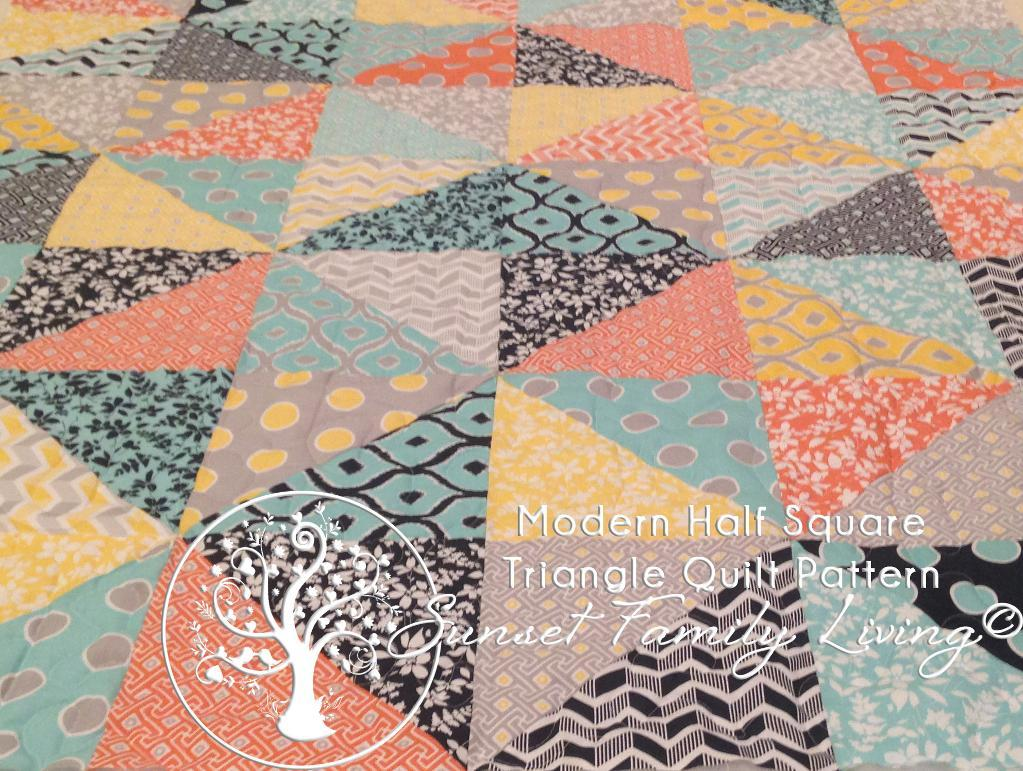 Modern Half-Square Triangle Quilt Pattern