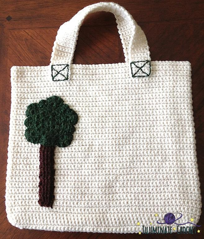 Nicki Tote with Tree Applique Crochet Pattern
