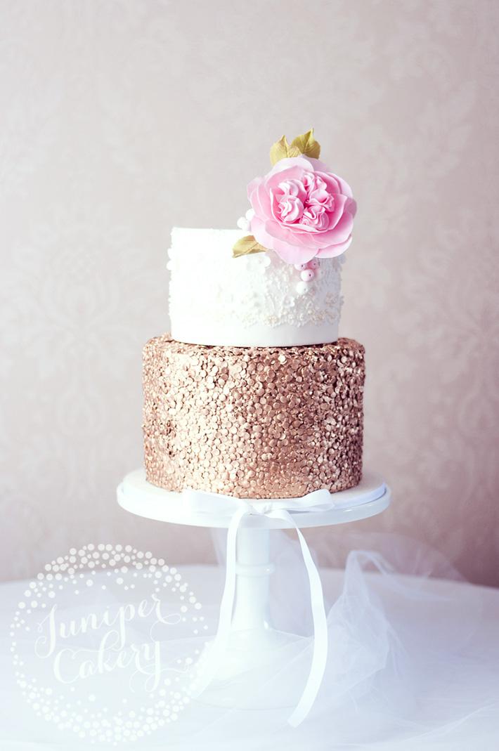 Rose gold sequin wedding cake by Juniper Cakery
