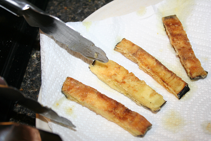 Eggplant slices, just fried