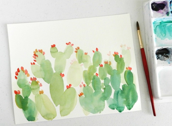 A beautiful prickly pear watercolor cactus painting (get the tutorial!)