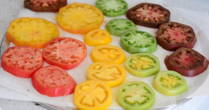 A rainbow of heirloom tomato slices