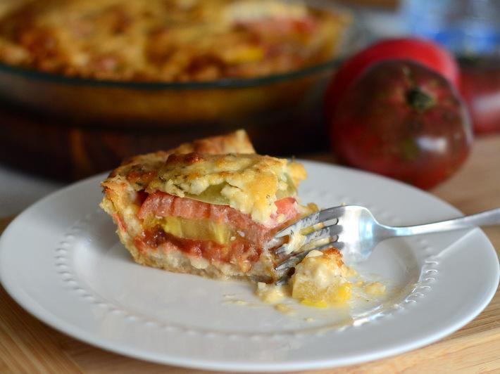 A Slice of Rainbow Tomato Pie — Yum!
