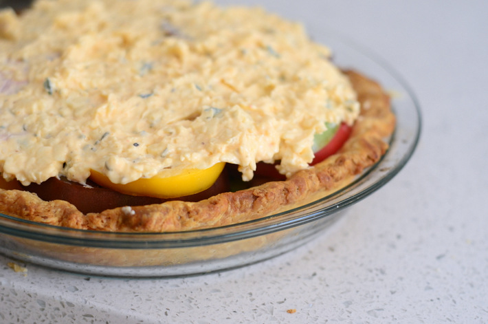 Rainbow Tomato Pie Cheesy Topping, Unbaked