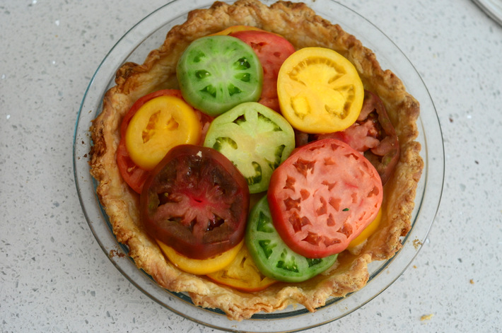 Colorful Filling for Rainbow Tomato Pie