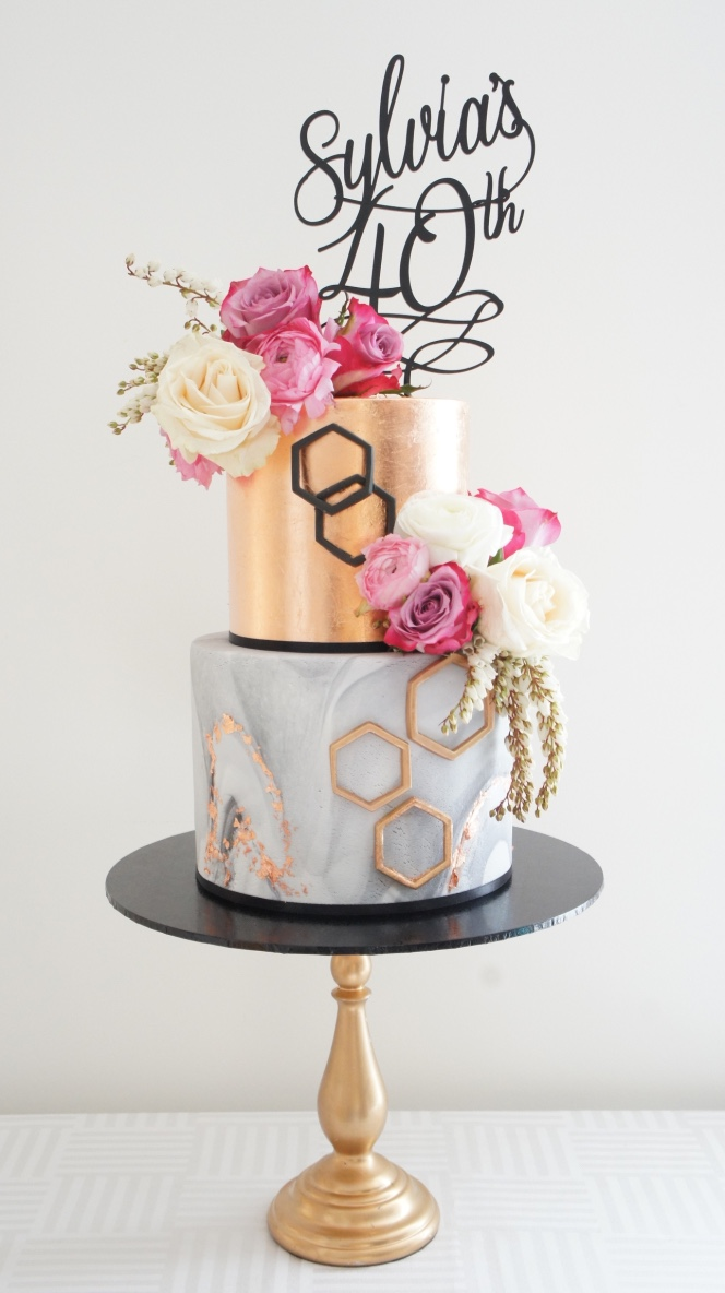 Rose gold modern cake by Cakes2Cupcakes