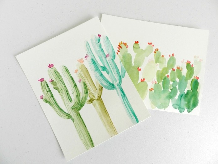 Discover two ways to create watercolor cactus paintings to hang in your home.