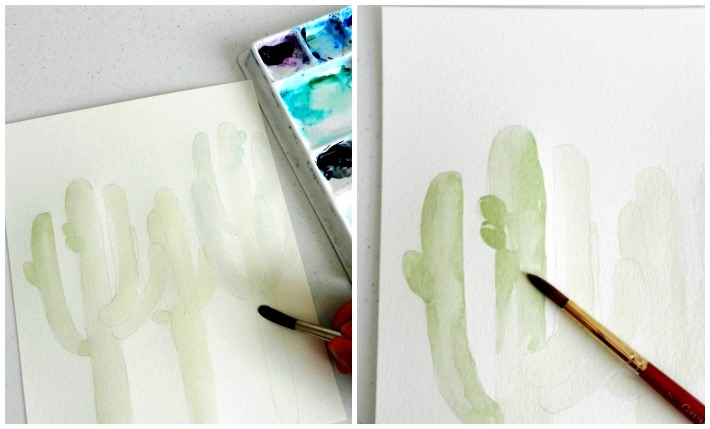 Paint a watercolor cactus in varying shades and layers of green paint