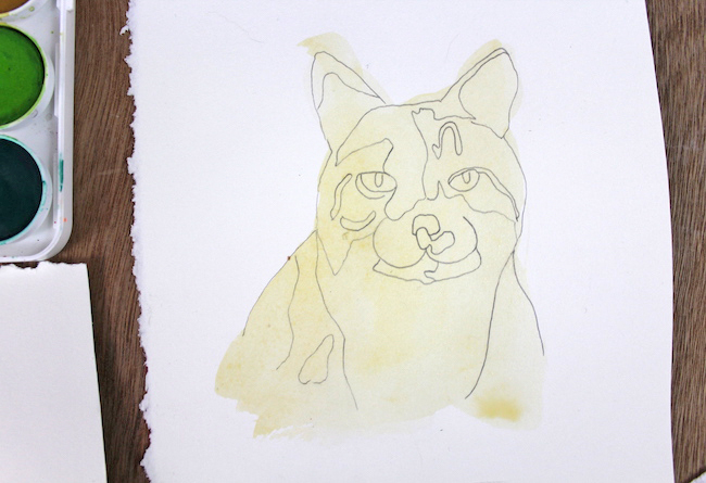 Cat Drawing With Light Watercolor Wash