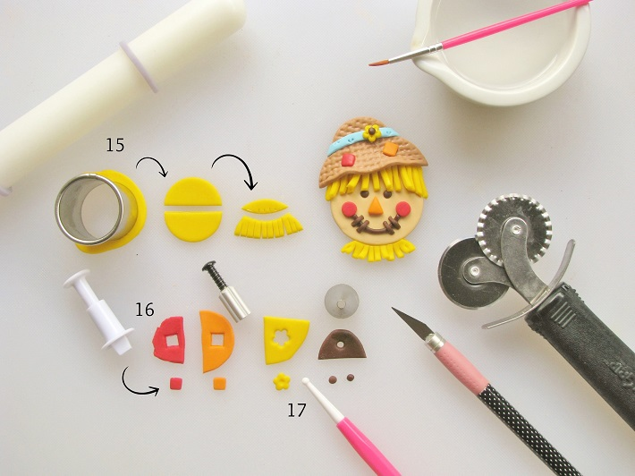 Step-by-Step Tutorial for Fondant Scarecrow CUpcakes