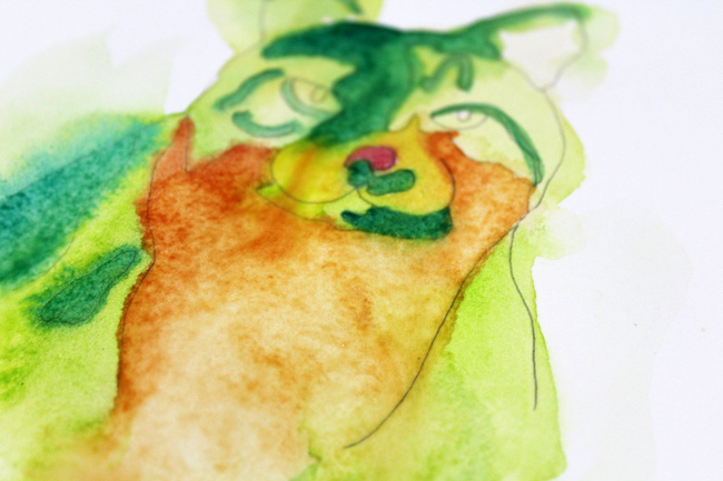 Abstract Cat Watercolor Painting