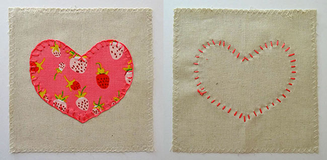 Front and Back View of Finished Blanket Stitch Applique