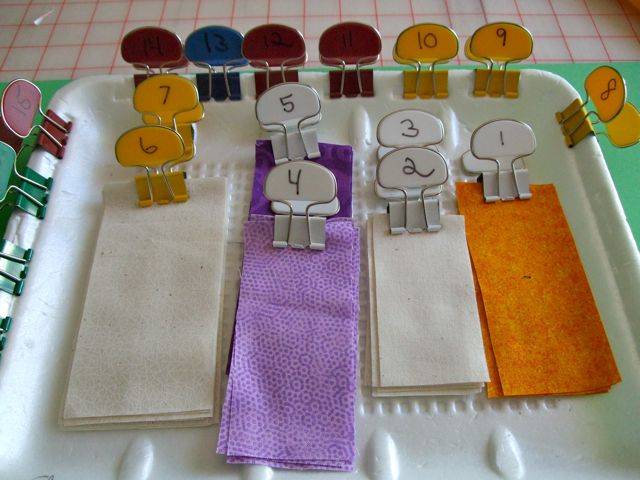 Carol Doak's cut fabrics with labeled binder tags