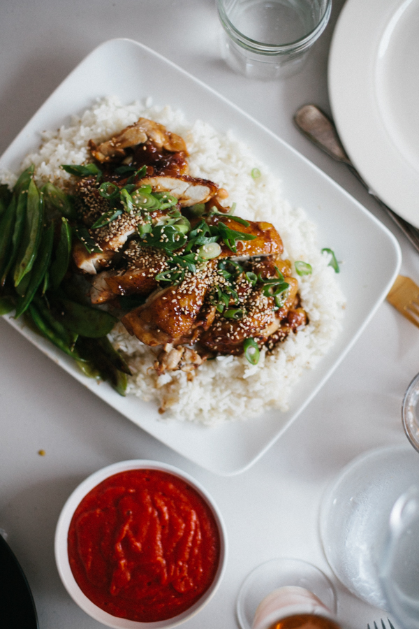 Homemade Sriracha with Chicken Teriyaki