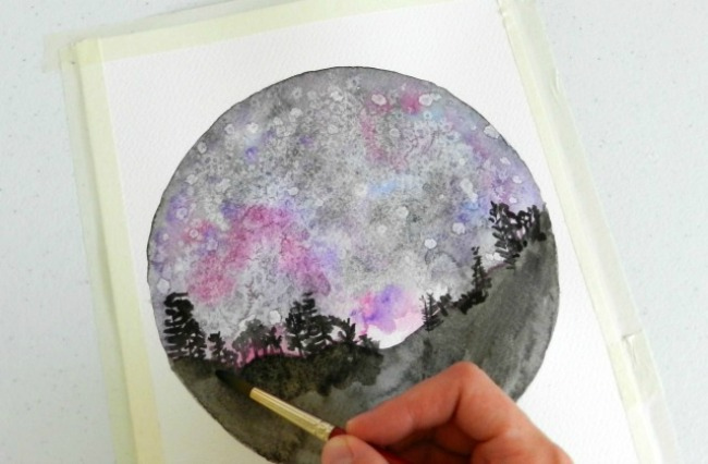 Painting the Foreground in Front of a Watercolor Night Sky