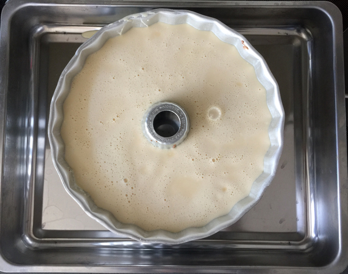 Flan Mixture in a Bundt Pan