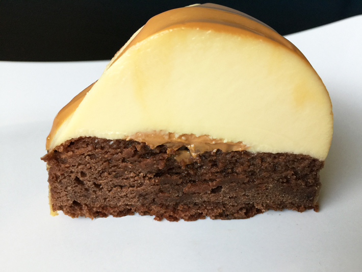 A slice of decadent chocoflan cake