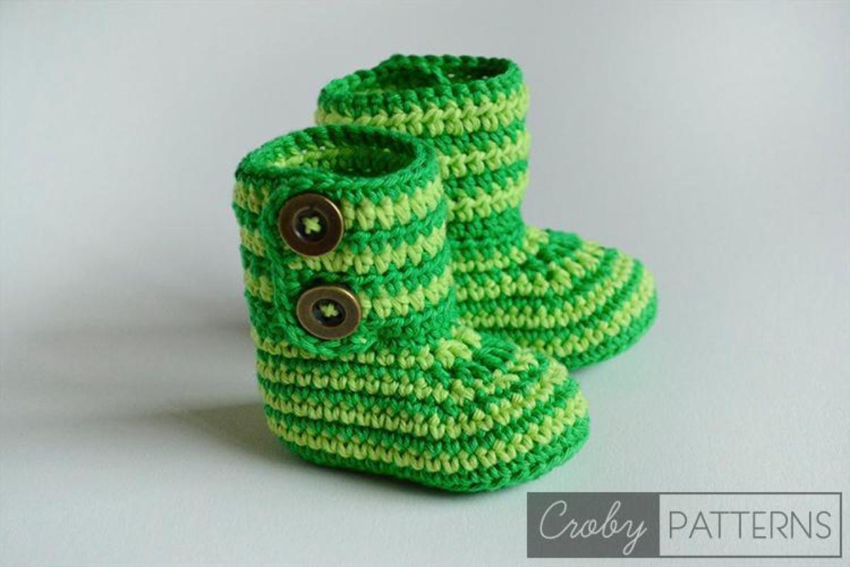 Crochet Baby Booties Green Zebra Pattern