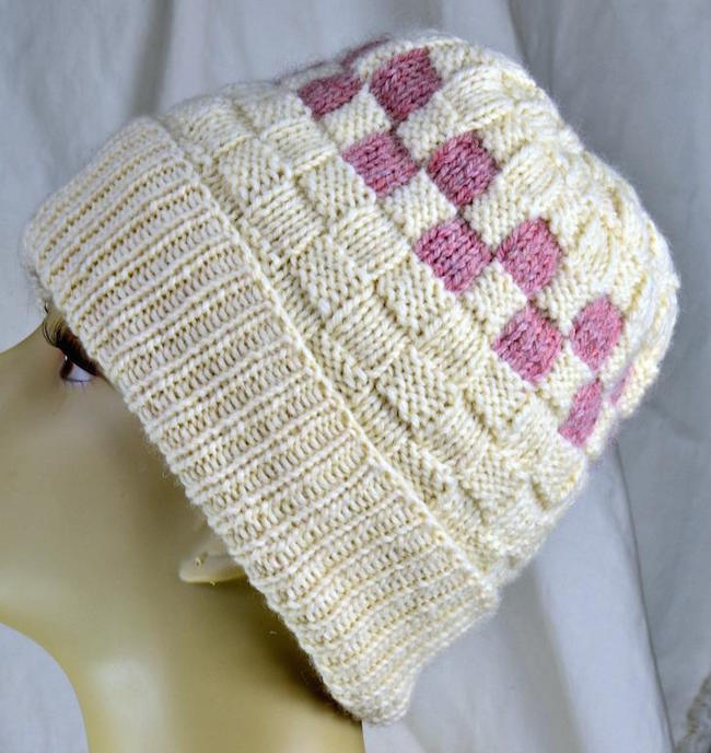 Checkerboard Slouch Hat FREE Knitting Pattern
