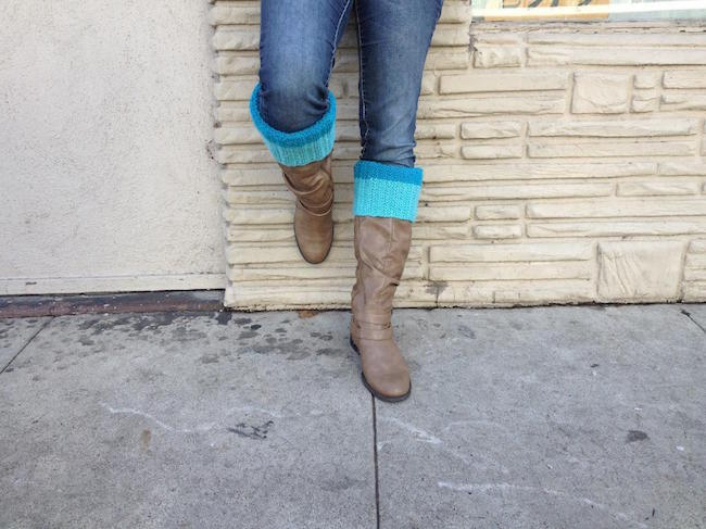 Color Block Boot Cuff FREE Knitting Pattern