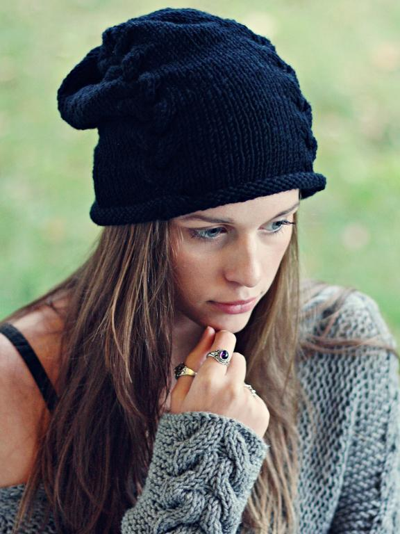 Black Beanie FREE Knitting Pattern