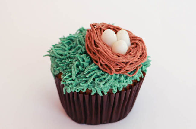 Buttercream Bird's Nest Made with a Grass Icing Tip