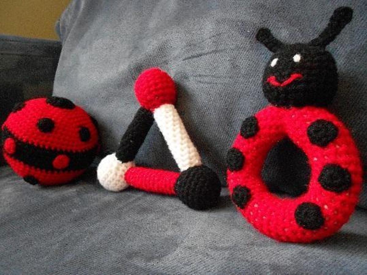Ladybug Baby Toy Set FREE Crochet Pattern