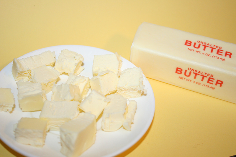 Quickly soften butter by cutting it into pieces