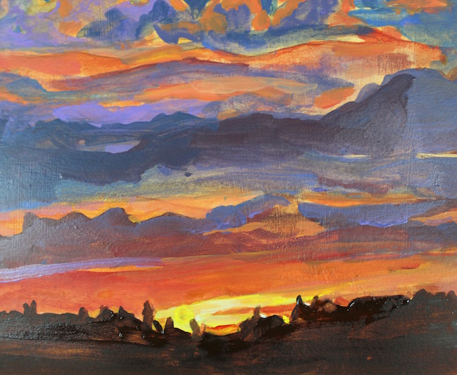 sunset acrylic painting silhouette detail