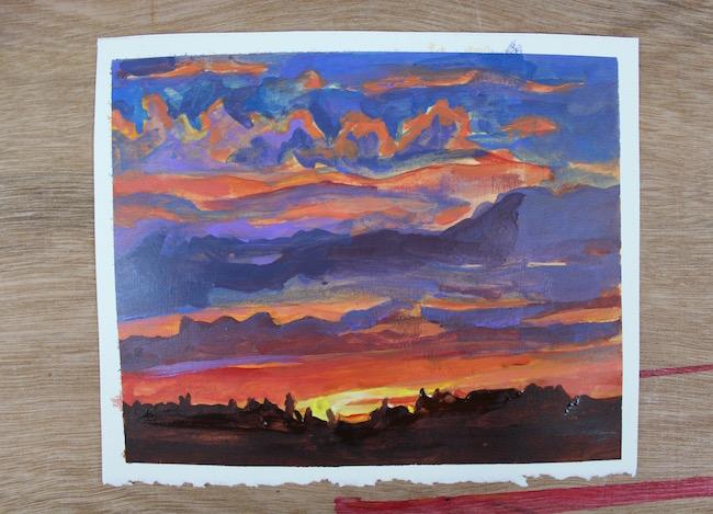 finished sunset acrylic painting