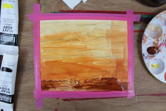 sunset acrylic painting, glazing technique