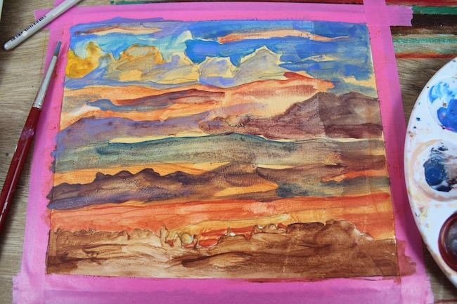 sunset acrylic painting glazing