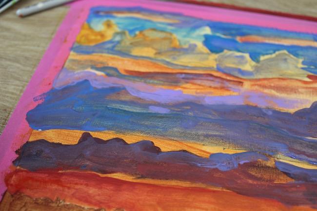 sunset acrylic painting glazing (detail)