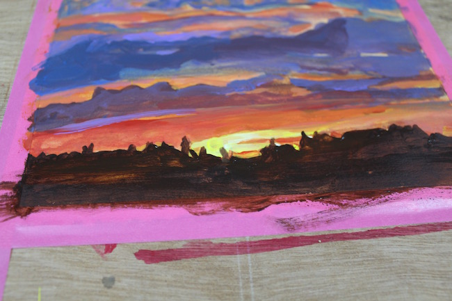 sunset acrylic painting silhouette