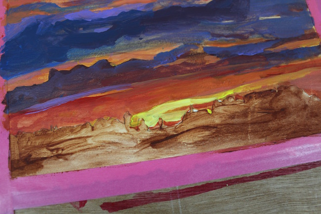 sunset acrylic painting (detail)