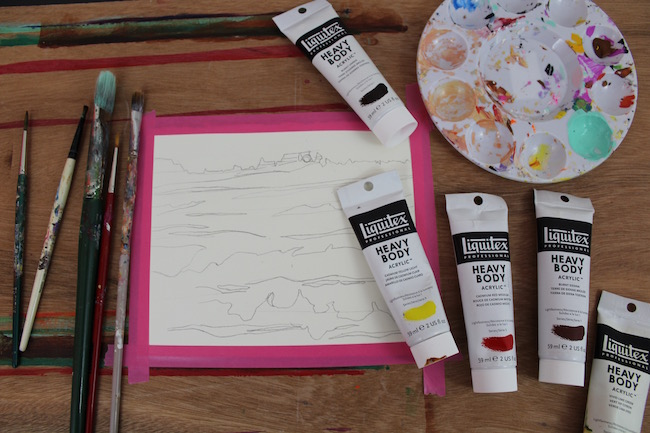acrylic sunset painting supplies