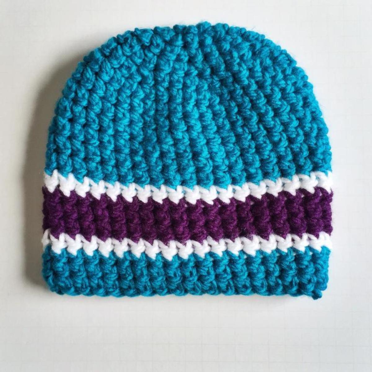 Triple Stripe Crochet Beanie Pattern for Men