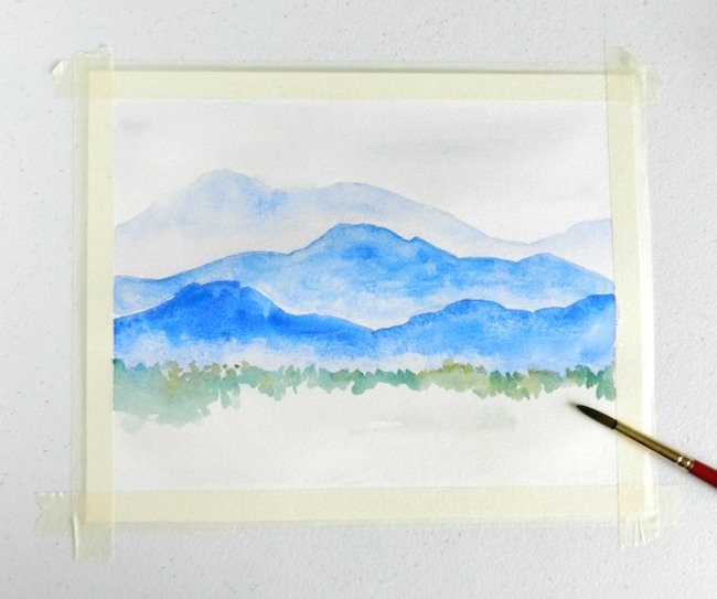 Add grass, trees and foliage to the front of the mountain painting