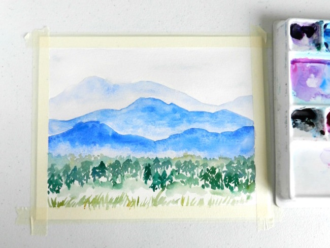 Easy Watercolor Mountain Painting