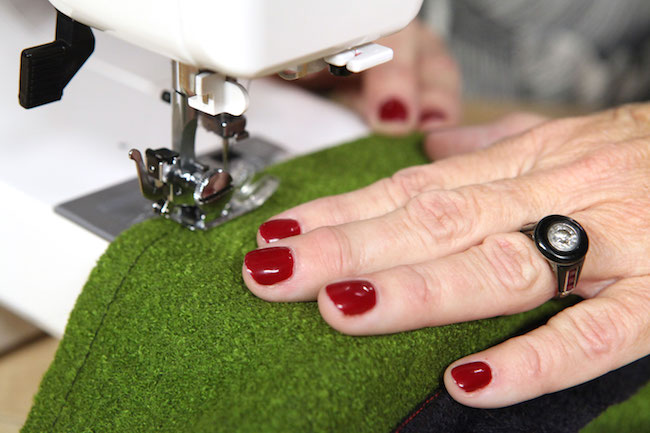 Sewing Green Fabric