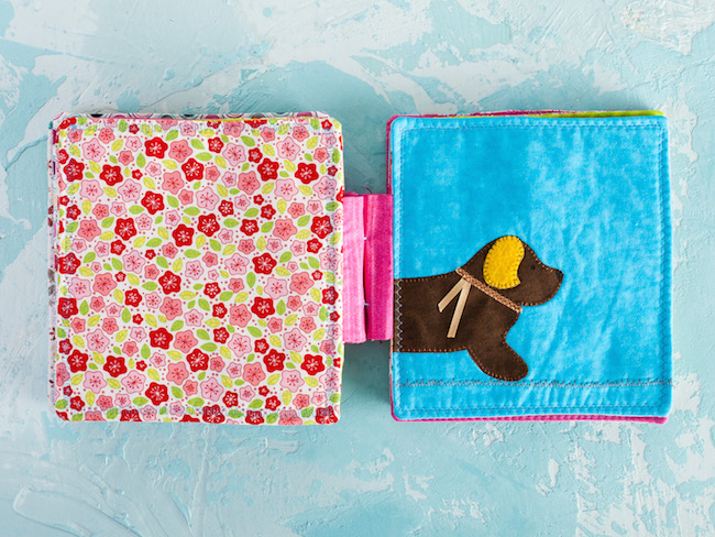 Dog in Quilted Baby Book