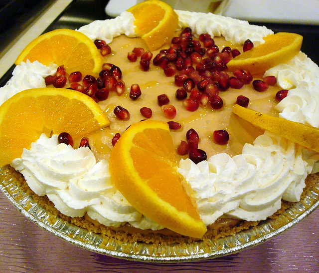 Pie with pomegranate
