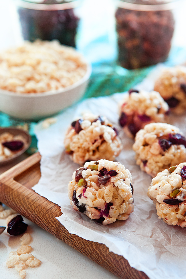 Crispy Rice and Cranberry Nut Balls