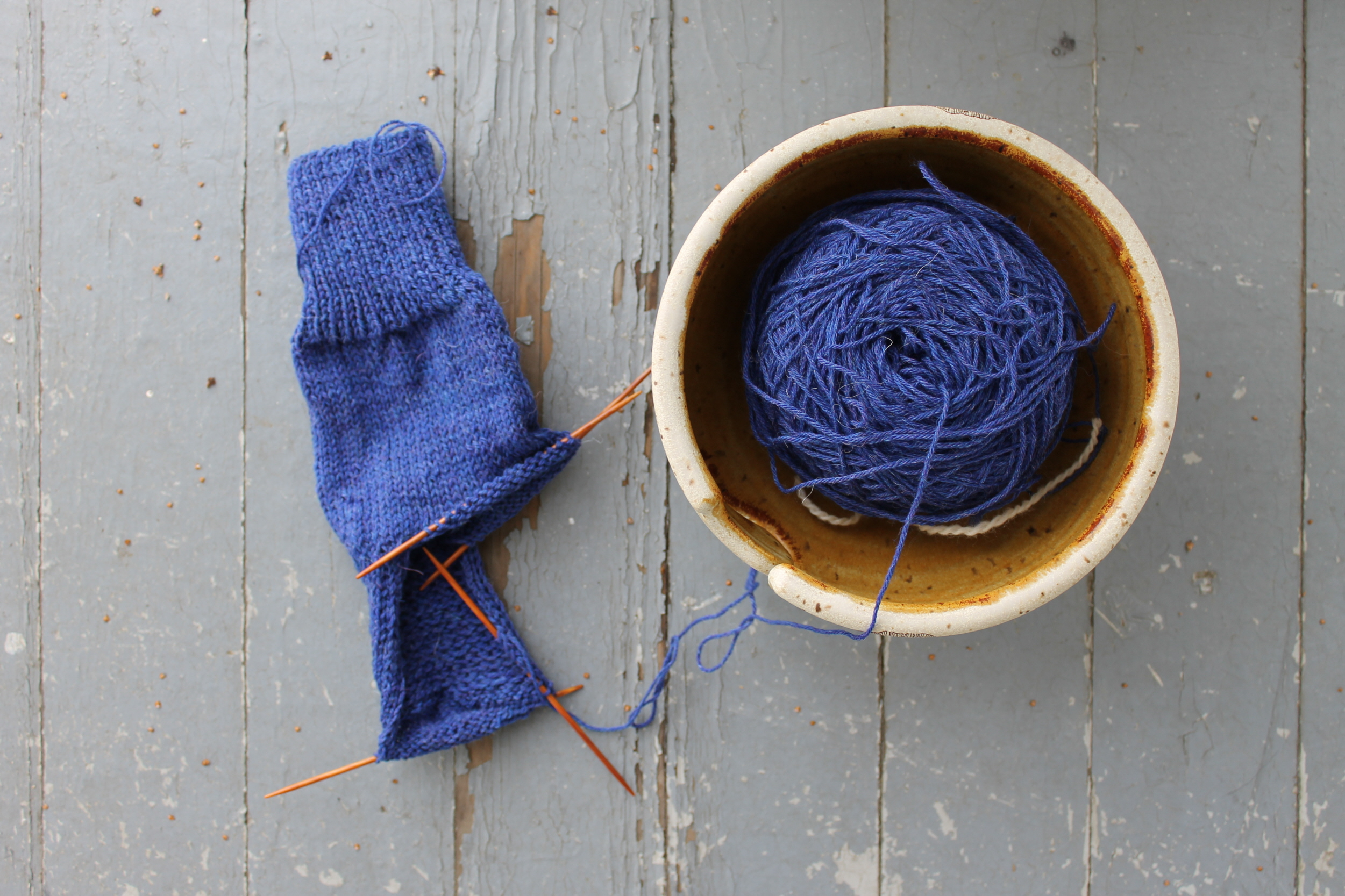 Very Vanilla Socks with yarn bowl