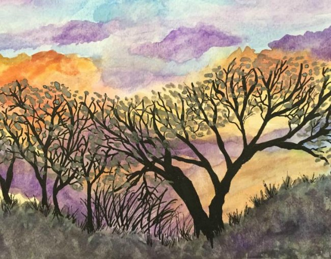 Fall Sunset Watercolor Painting