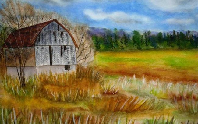 Autumn Watercolor Landscape Painting