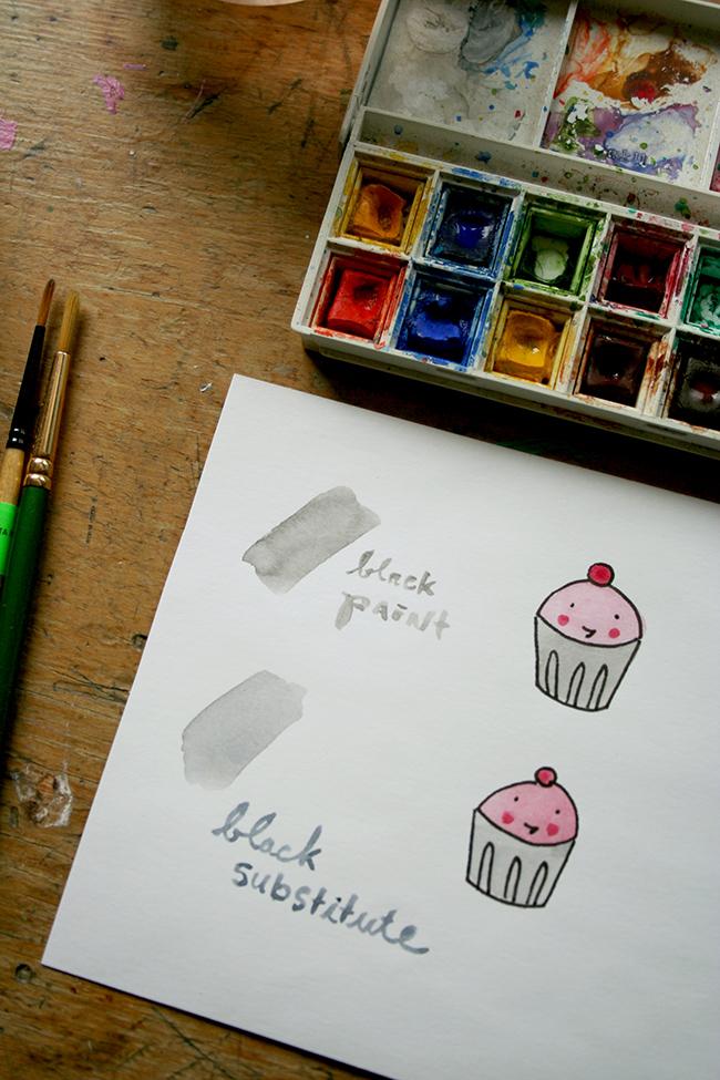 Black watercolor paint substitute