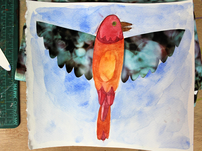 cut-out art watercolor painting of a bird