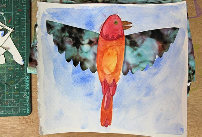watercolor painting of a bird with wings cut out