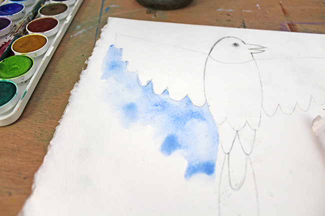 watercolor painting of bird for cut-out art